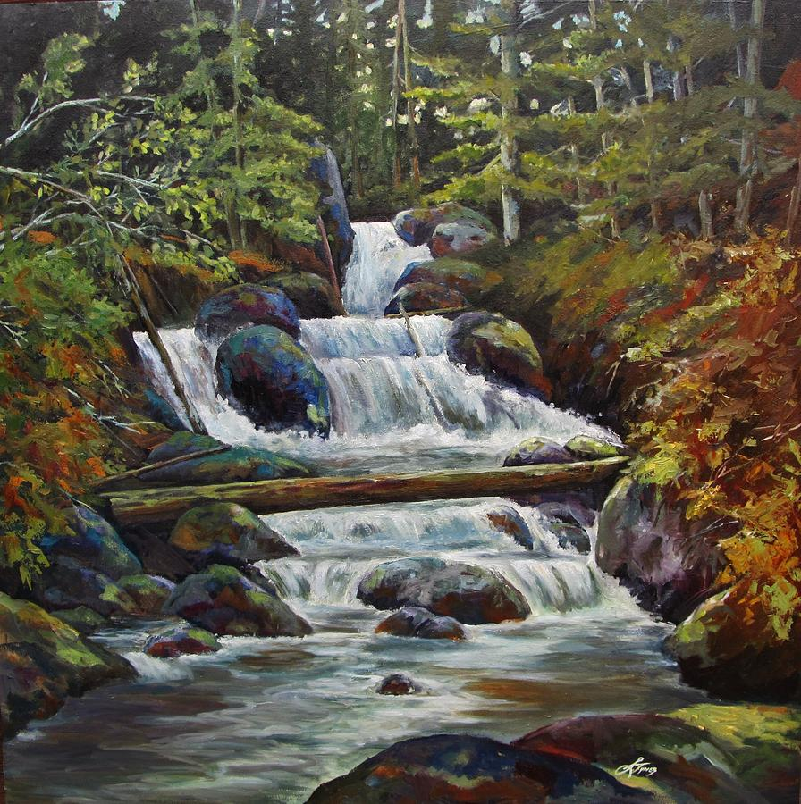 Landscape Painting - Ryans Falls by Suzanne Tynes