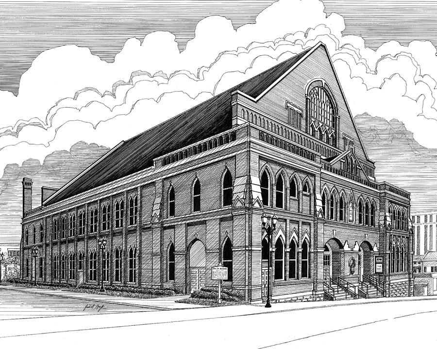 Architecture Drawing - Ryman Auditorium In Nashville Tn by Janet King