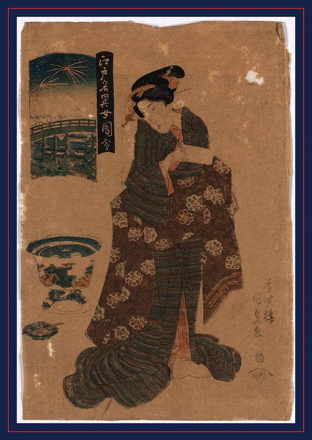 1818 Drawing - Ryogoku No Hanabi, Fireworks At Ryogoku. Between 1818 by Utagawa, Toyokuni (1769-1825), Japanese