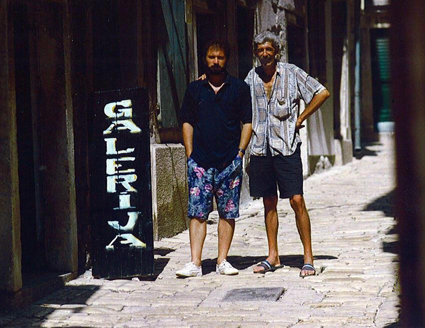 s prijateljem Sasom ispred ateliera u Rovinju Painting by Saso  Petrosevski Novak - SPN