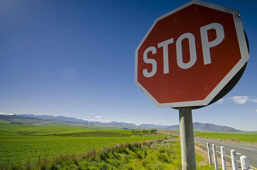Sign Photograph - S T O P by Aaron Bedell