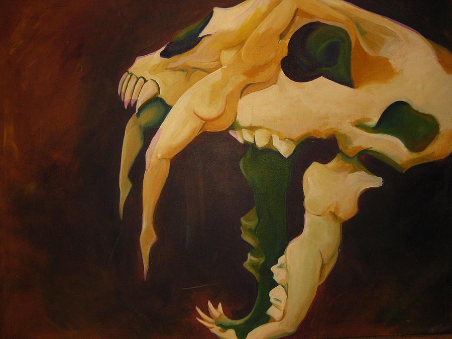 Skull Painting - Saber Tooth by Allison Kohn