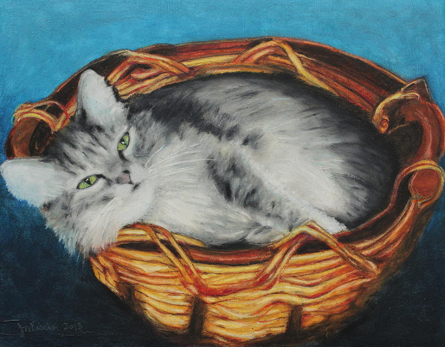 Mammal Painting - Sabrina In Her Basket by Jeanne Fischer