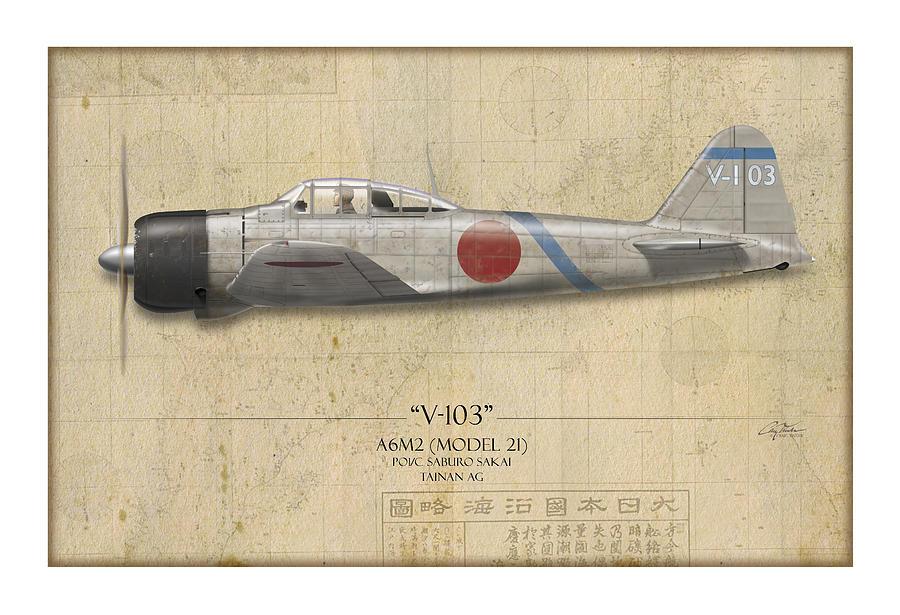 Aviation Painting - Saburo Sakai A6m Zero - Map Background by Craig Tinder