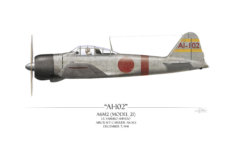 Aviation Painting - Saburo Shindo A6m Zero - White Background by Craig Tinder