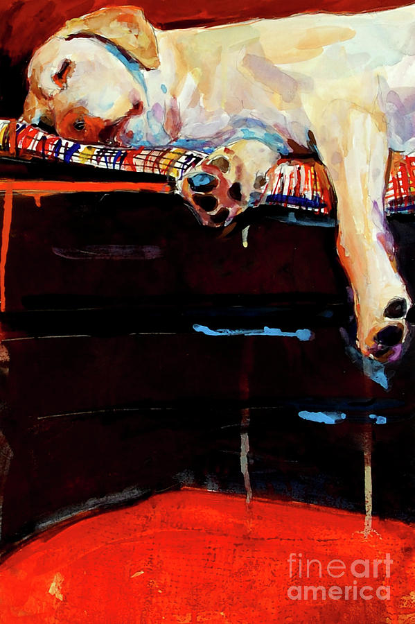 Dog Sleeping Painting - Sacked by Molly Poole