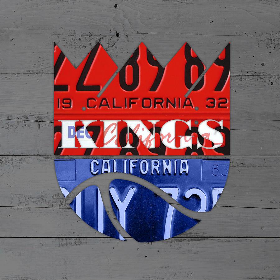 Sacramento Mixed Media - Sacramento Kings Basketball Team Retro Logo Vintage Recycled California License Plate Art by Design Turnpike