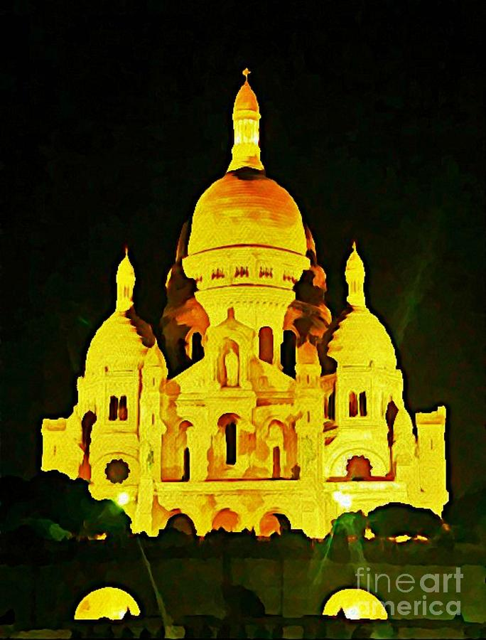 Churches Painting - Sacre-coure Cathedral Paris  by John Malone