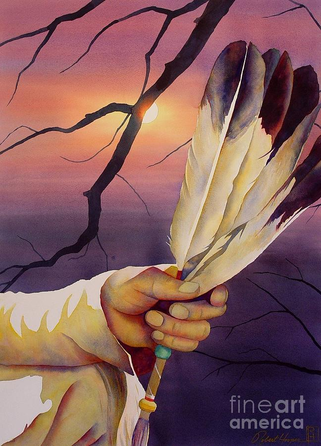Watercolor Painting - Sacred Feathers by Robert Hooper