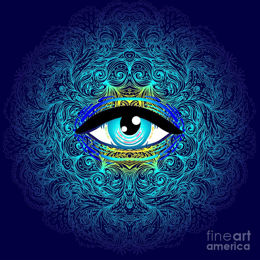 Magic Digital Art - Sacred Geometry Symbol With All Seeing by Gorbash Varvara