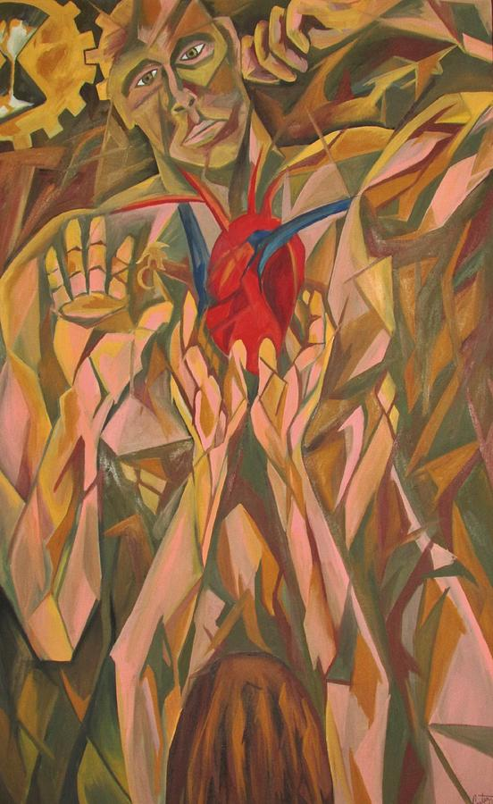 Cubist Painting - Sacred Heart And Thoughtful Mind by Carter Gillis