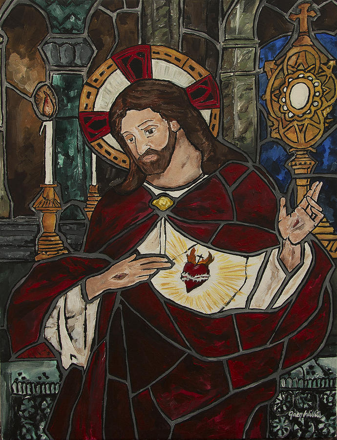 Sacred Heart Painting - Sacred Heart Of Jesus by Greg Willits
