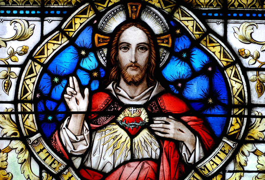 Stained Photograph - Sacred Heart Of Jesus In Stained Glass by Philip Ralley