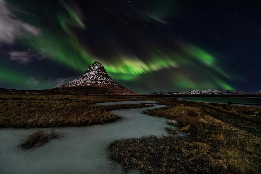 Aurora Photograph - Sacred Kirkjufell by Javier De La