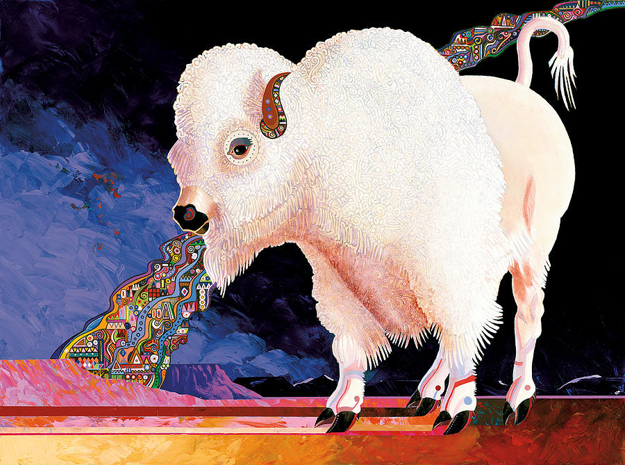 White Buffalo Painting - Sacred Spirit by Bob Coonts