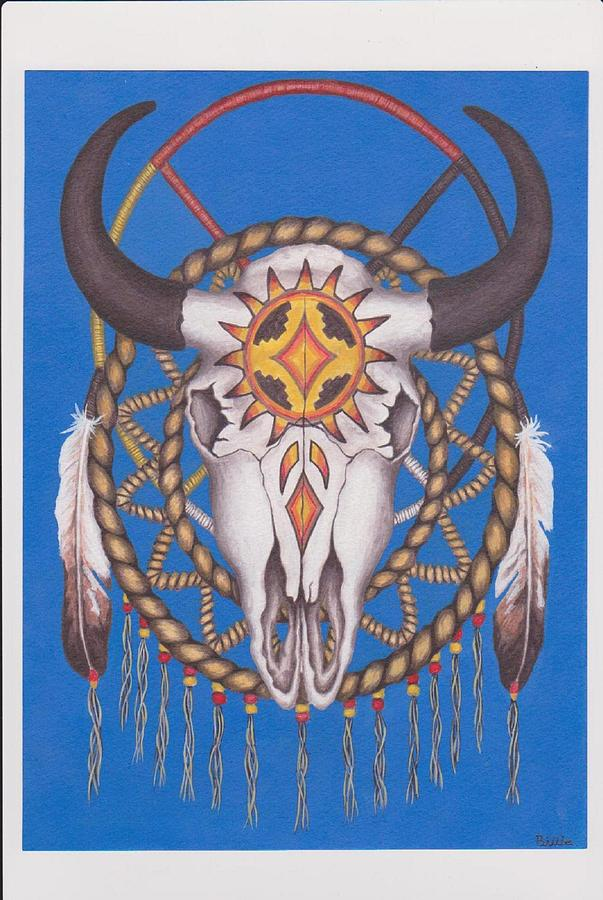 Indian Medicine Man Tools Buffalo Scull Hair Circles And Paintings Painting - Sacred Things by Billie Bowles