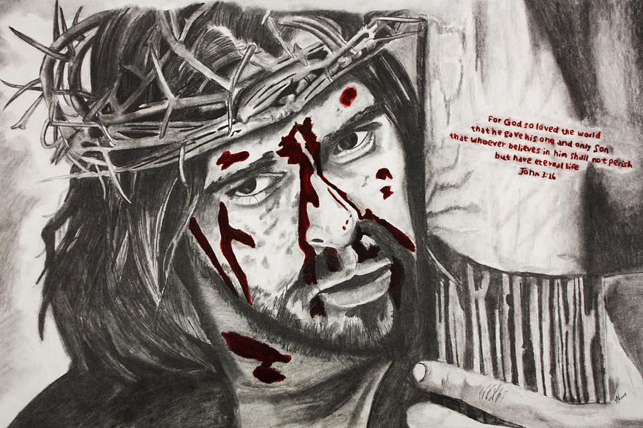 Jesus Drawing - Sacrifice by Nick Vogt