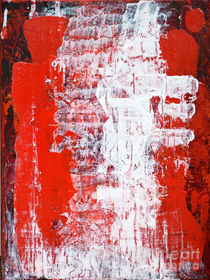 Color Painting - Sacrifice Red White Abstract By Chakramoon by Belinda Capol