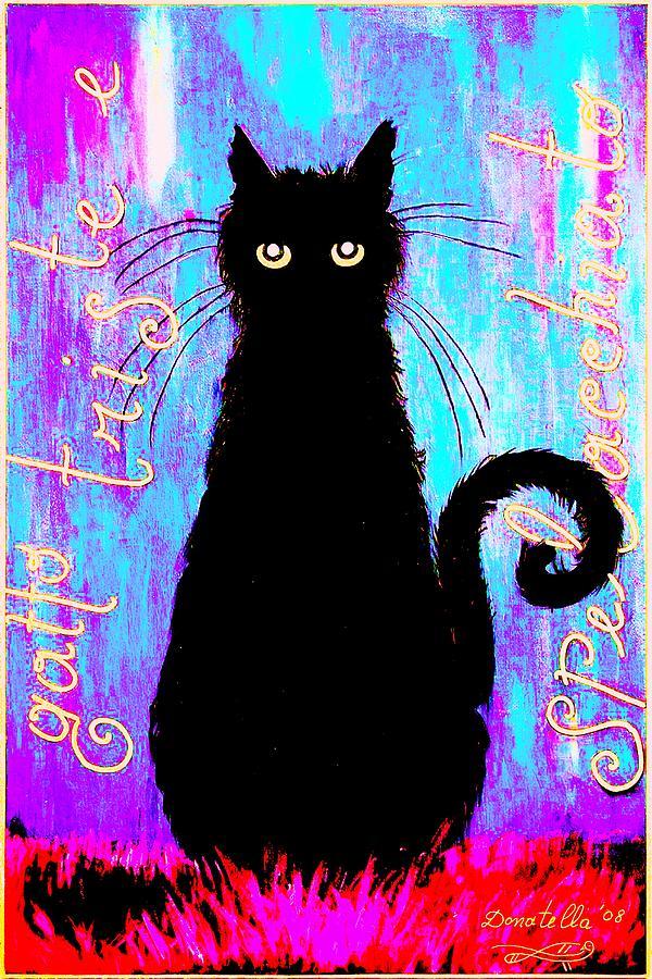 Cat Mixed Media - Sad And Ruffled Cat Explosive Color Version by Donatella Muggianu