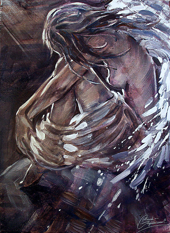 Angel Painting - Sad Angel by Carolina Ocinschi-Gogalniceanu