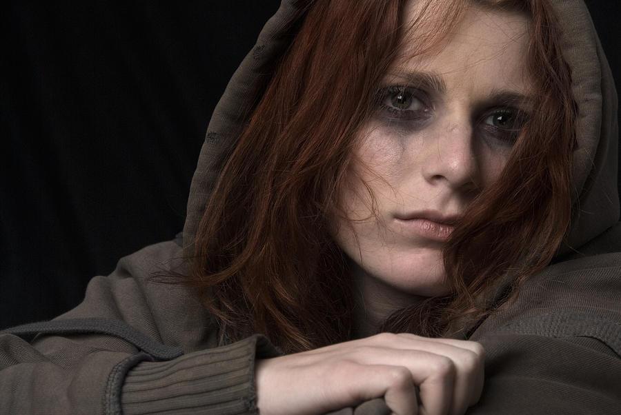 Sad Woman Face With Smeared Makeup Photograph by Alina555