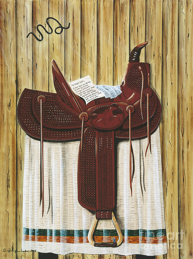 Saddle Painting - Saddle Up by Jennifer Lake