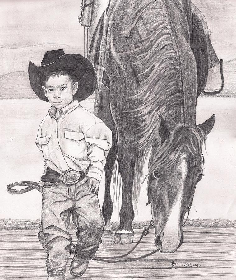 Boy Painting - Saddle Up Partner by Beverly Marshall