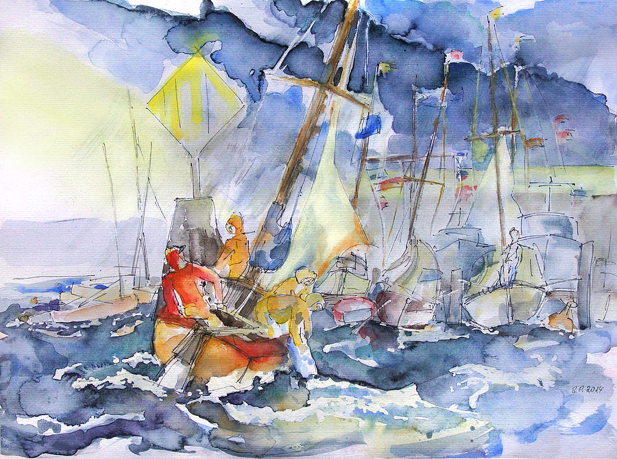 Regatta Painting - Safe And Sound Back At The Port by Barbara Pommerenke