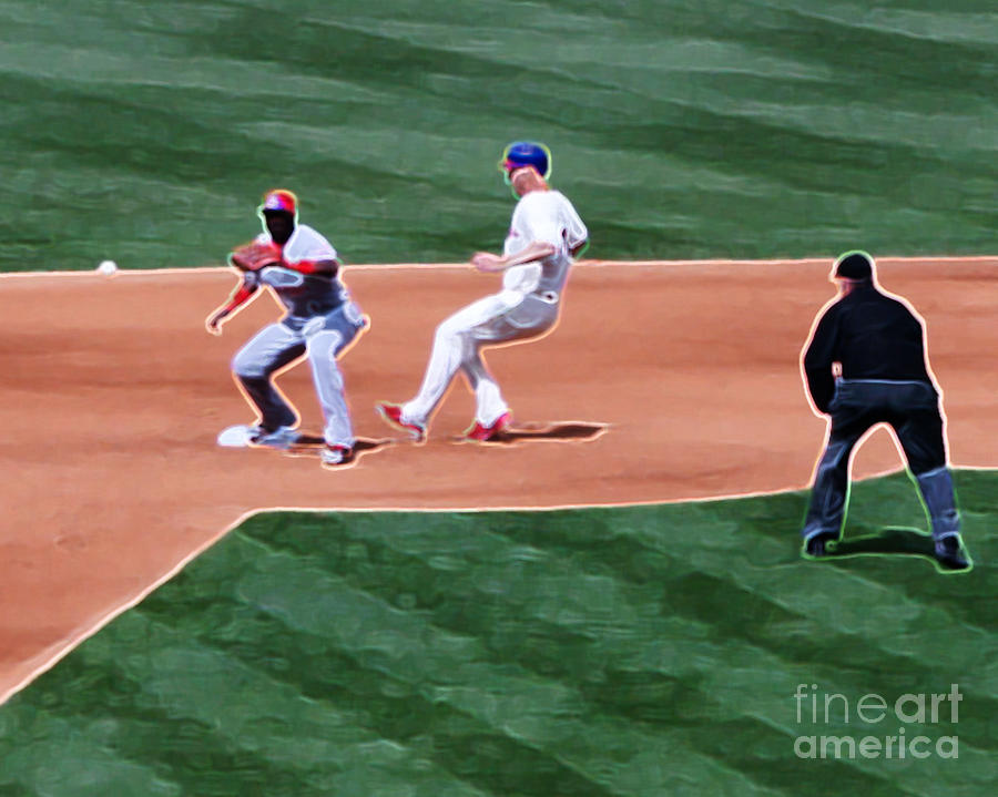 Cliff Lee Photograph - Safe At Second Base by Terry Weaver