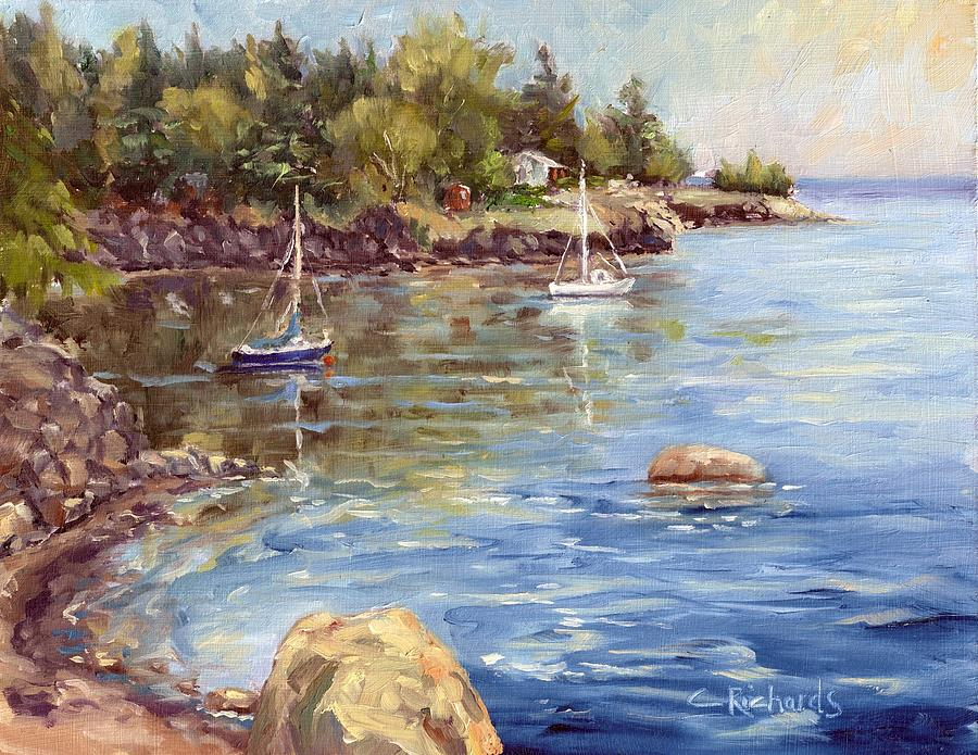 Water Painting - Safe Harbor - Oak Point by Cathleen Richards-Green
