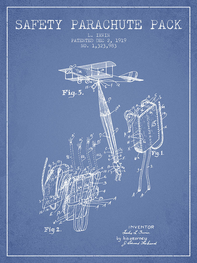 Parachute Digital Art - Safety Parachute Patent From 1919 - Light Blue by Aged Pixel