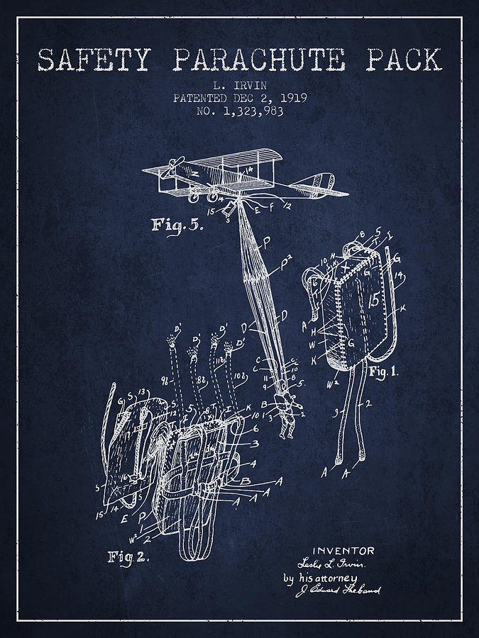Parachute Digital Art - Safety Parachute Patent From 1919 - Navy Blue by Aged Pixel