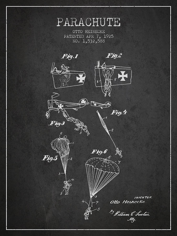 Parachute Digital Art - Safety Parachute Patent From 1925 - Charcoal by Aged Pixel