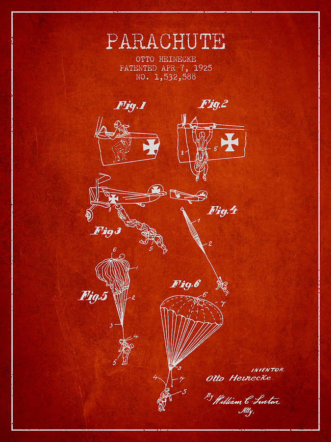 Parachute Digital Art - Safety Parachute Patent From 1925 - Red by Aged Pixel