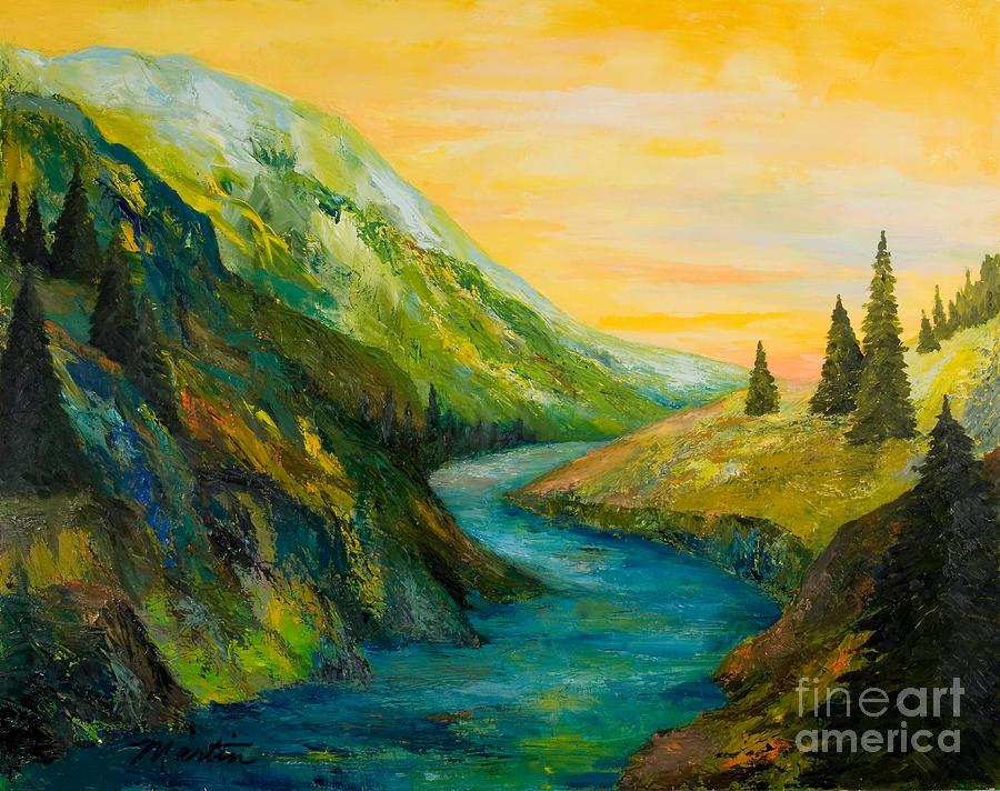 Landscapes Painting - Saffron Sky by Larry Martin