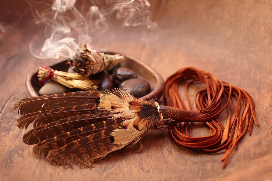 Sage Stick And American Indian Feather Photograph by GSPictures