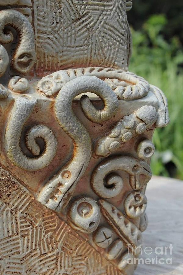 Stoneware Ceramic Art - Saggar Jar - detail view by Donald Burroughs