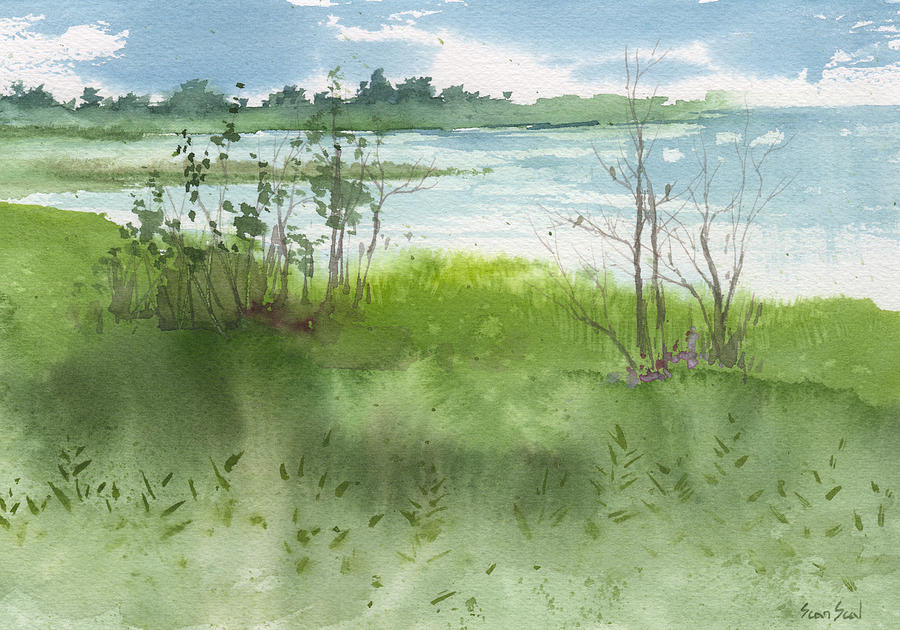 Landscape Painting - Saginaw Bay 7-26-13 by Sean Seal