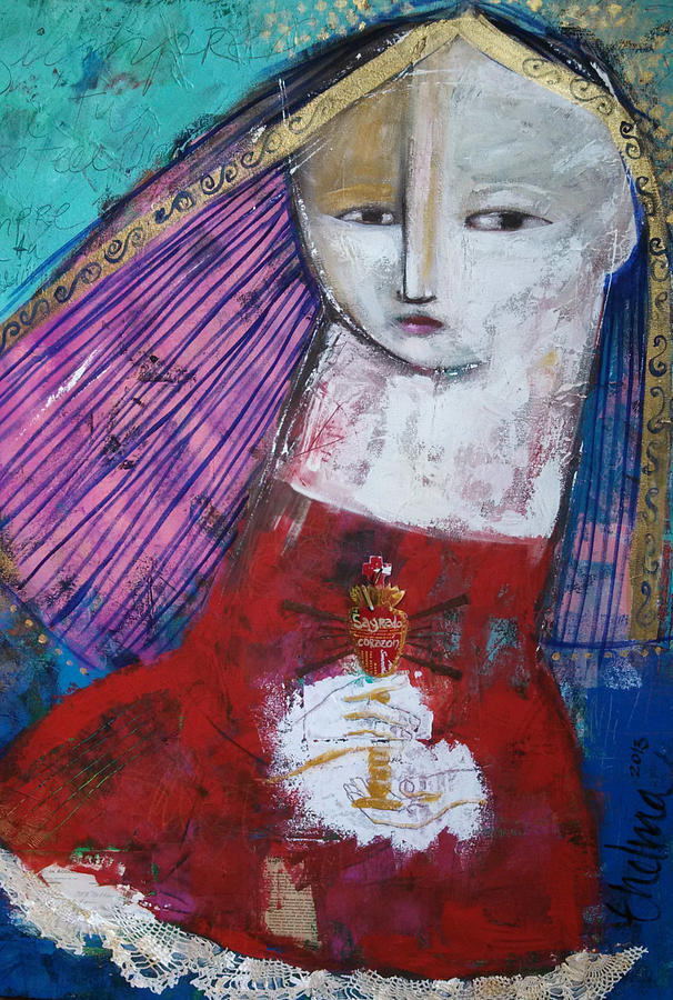 Canvas Painting - Sagrado Corazon by Thelma Lugo