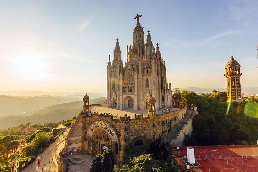 Sagrat Cor Temple at Tibidabo Mountain during sunset, Barcelona, Catalonia, Spain Photograph by Alexander Spatari