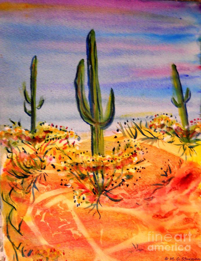 Desert Painting - Saguaro Cactus Desert Landscape by M c Sturman