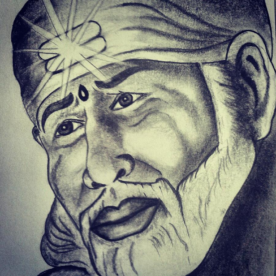 Sai baba drawing by santosh nimbal
