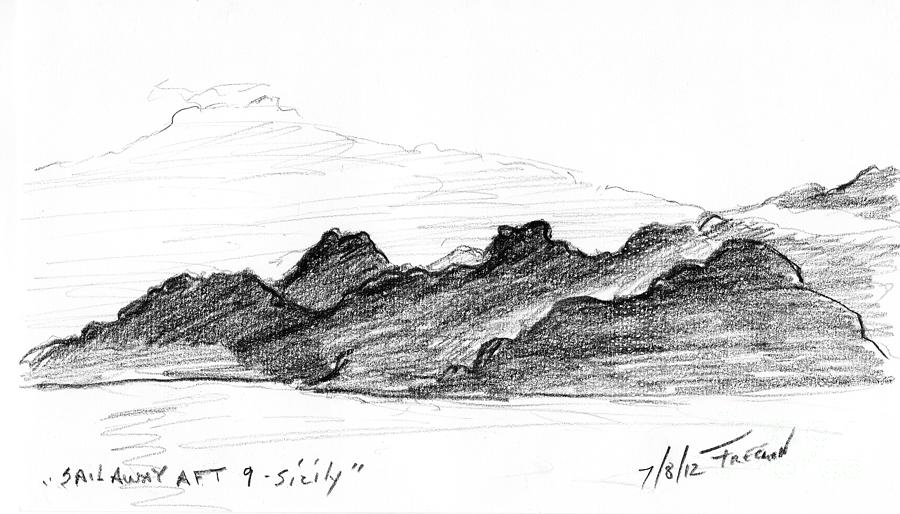 Crystal Cruises Drawing - Sail Away Aft 9 Sicily by Valerie Freeman