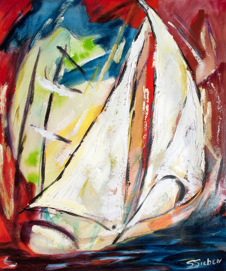 Mixed Media Painting - Sail Away II by Sharon Sieben