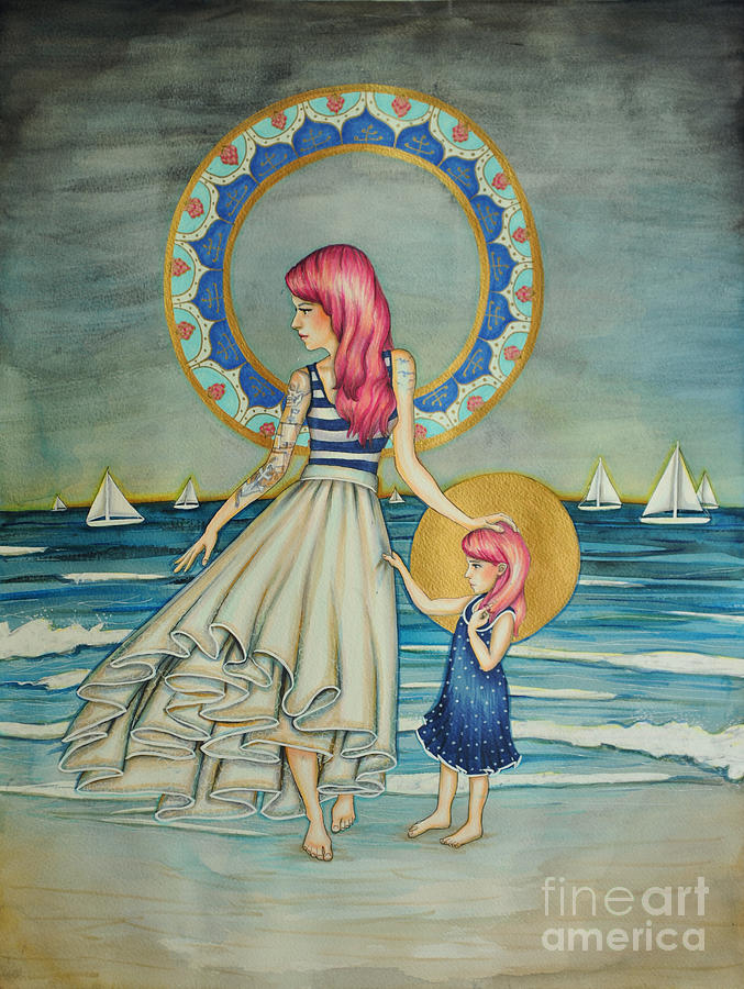 Skirt Drawing - Sail Away by Lucy Stephens