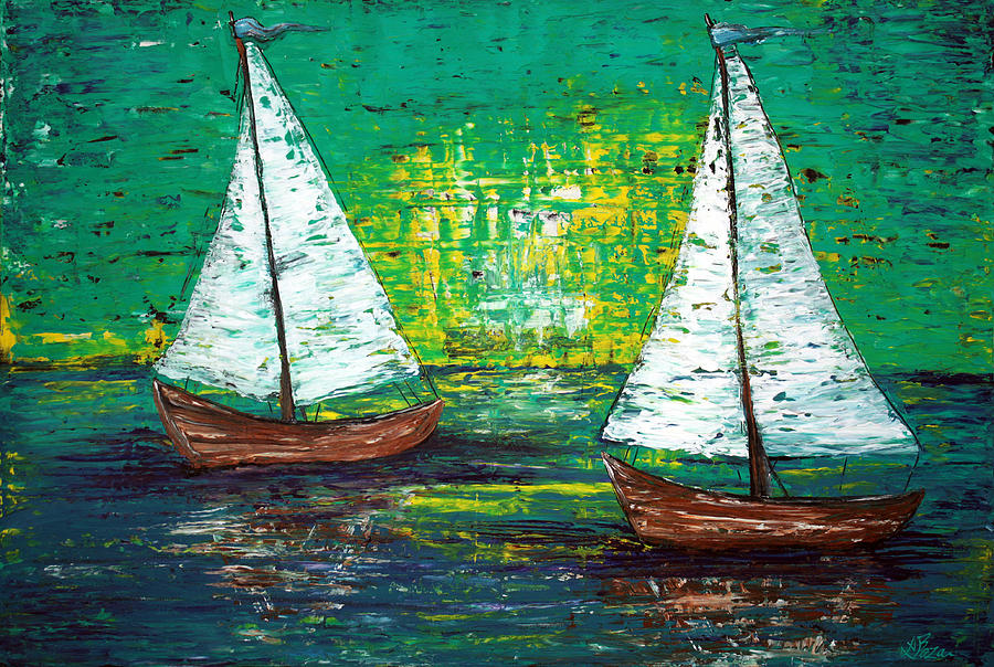 Sailing Painting - Sail Away With Me by Laura Barbosa