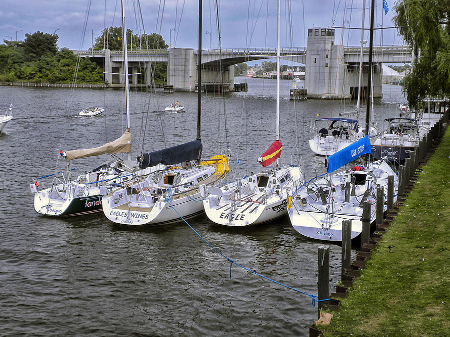 Sailboat Photograph - Sail Boats 4 In A Row by Thomas Woolworth