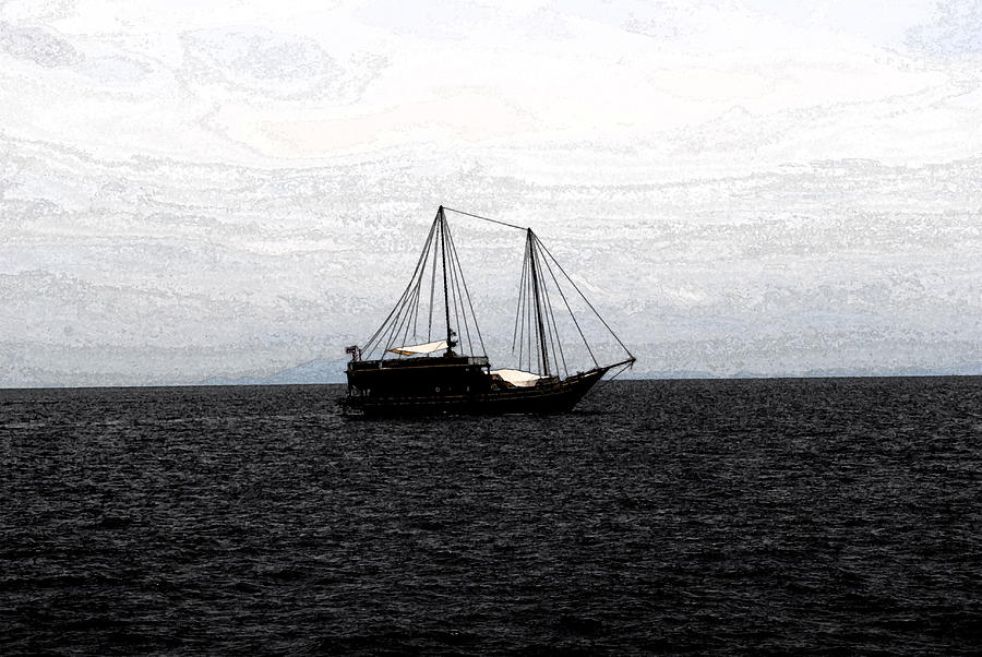 Boat Photograph - Sail In Black Sea- Viators Agonism by Vijinder Singh