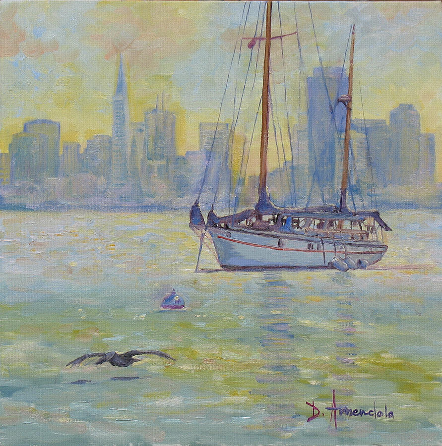 Water Painting - Sailboat anchored at sunset by Dominique Amendola