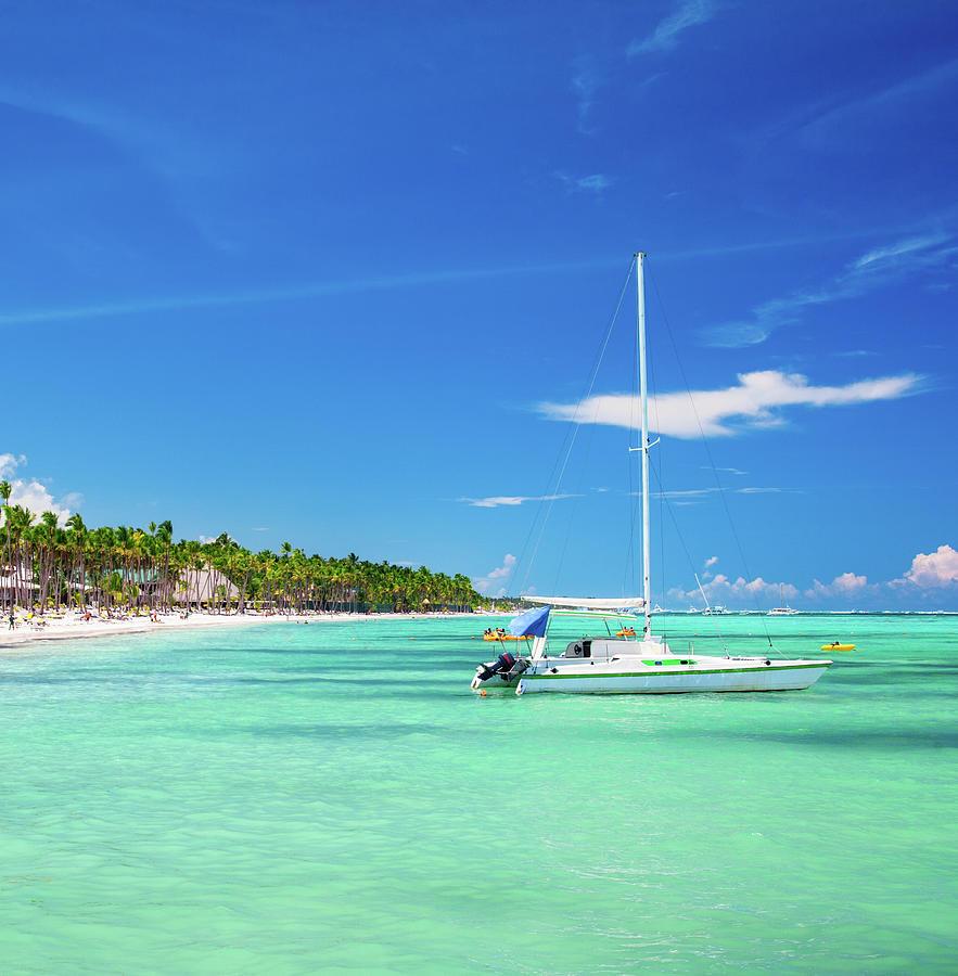 Sailboat And Caribbean Beach Photograph by Danilovi